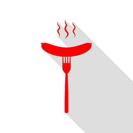 Sausage on fork sign. Red icon with flat style shadow path.