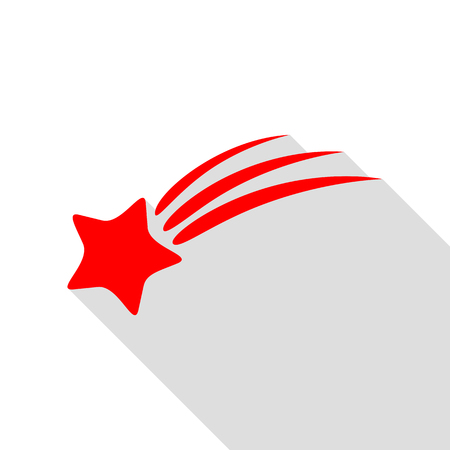 star path: Shooting star sign. Red icon with flat style shadow path. Illustration
