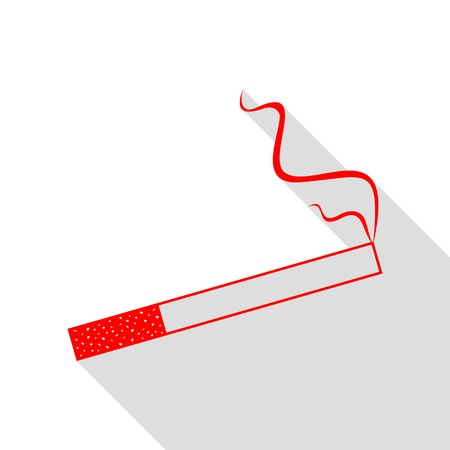 Smoke icon great for any use. Red icon with flat style shadow path. Illustration