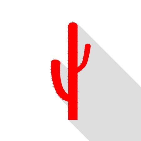 Cactus simple sign. Red icon with flat style shadow path.