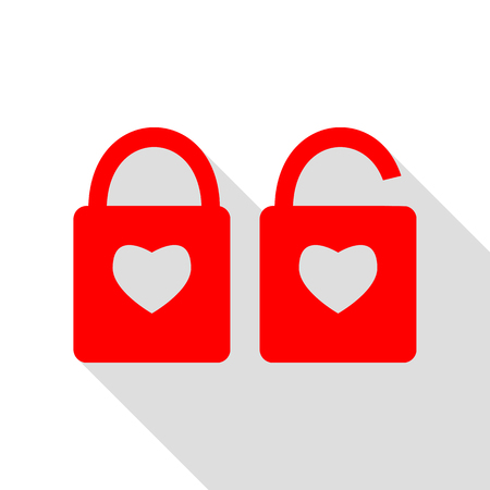 door lock love: lock sign with heart shape. A simple silhouette of the lock. Shape of a heart. Red icon with flat style shadow path.