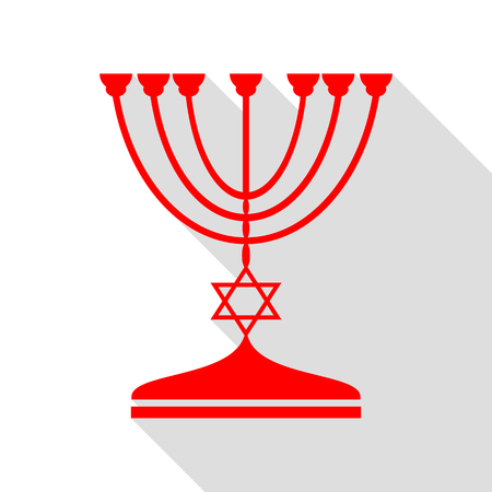 candlestick: Jewish Menorah candlestick in black silhouette. Red icon with flat style shadow path. Illustration