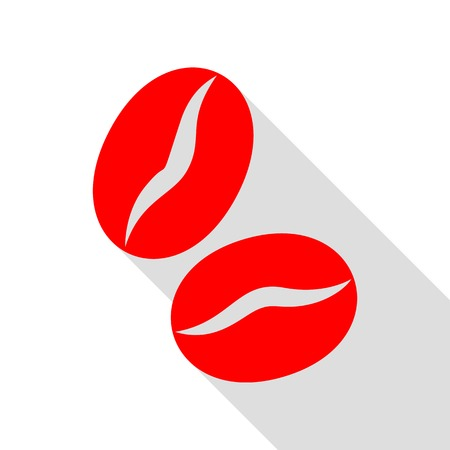 decaf: Coffee beans sign. Red icon with flat style shadow path. Illustration