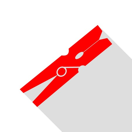 clothespeg: Clothes peg sign. Red icon with flat style shadow path. Illustration