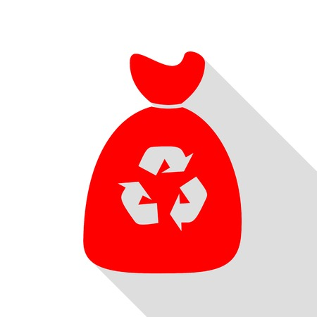 segregate: Trash bag icon. Red icon with flat style shadow path.