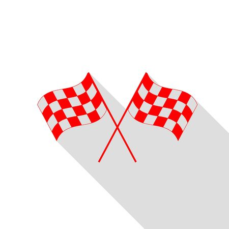 Crossed checkered flags logo waving in the wind conceptual of motor sport. Red icon with flat style shadow path.