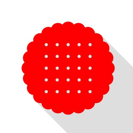 Pyramid sign illustration. Red icon with flat style shadow path.