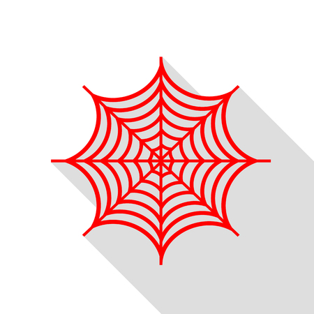 poison symbol: Spider on web illustration. Red icon with flat style shadow path.