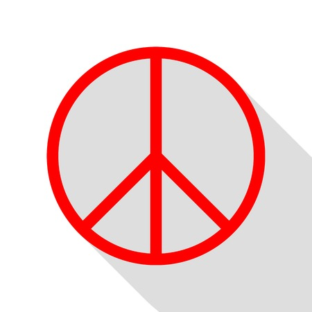pacificist: Peace sign illustration. Red icon with flat style shadow path. Illustration