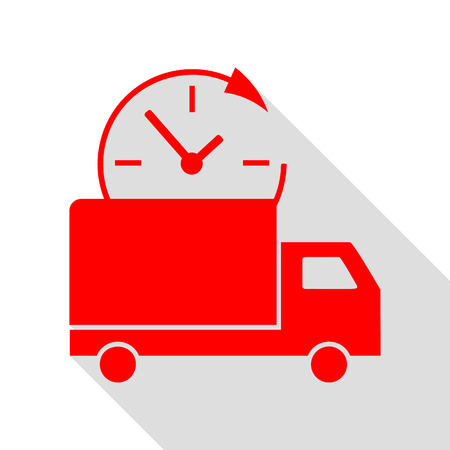 semitruck: Delivery sign illustration. Red icon with flat style shadow path.