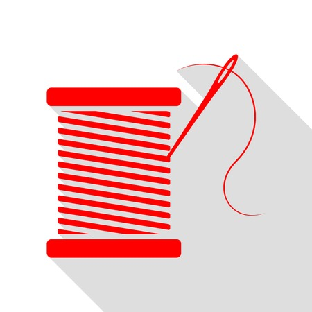 Thread with needle sign illustration. Red icon with flat style shadow path. Illustration