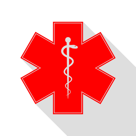 staff of aesculapius: Medical symbol of the Emergency or Star of Life. Red icon with flat style shadow path.