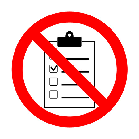 No Checklist sign illustration.