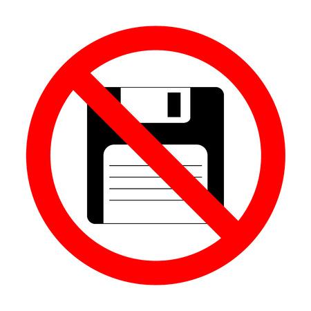 floppy disk: No Floppy disk sign. Illustration
