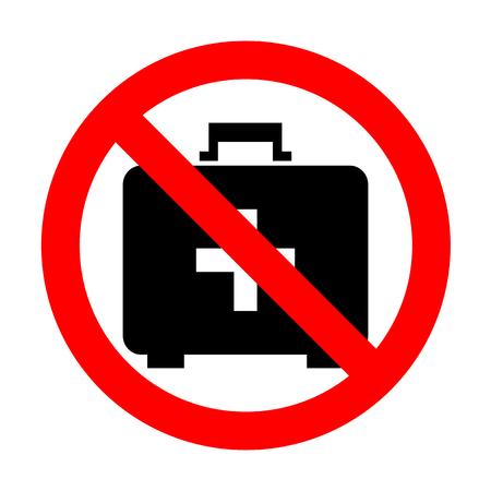 No Medical First aid box sign.