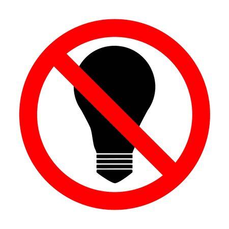 No Light lamp sign. Illustration