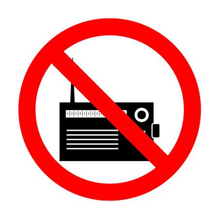 shortwave: No Radio sign illustration. Illustration