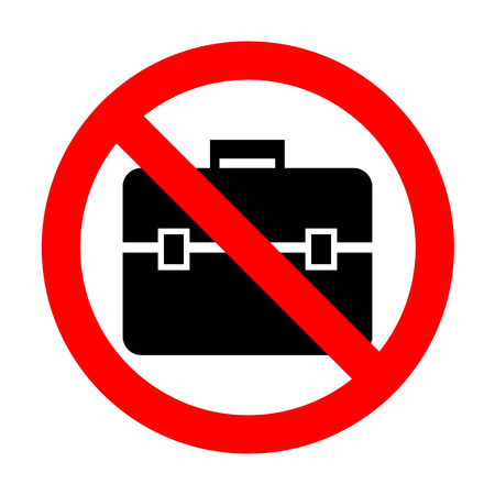 No Briefcase sign illustration.