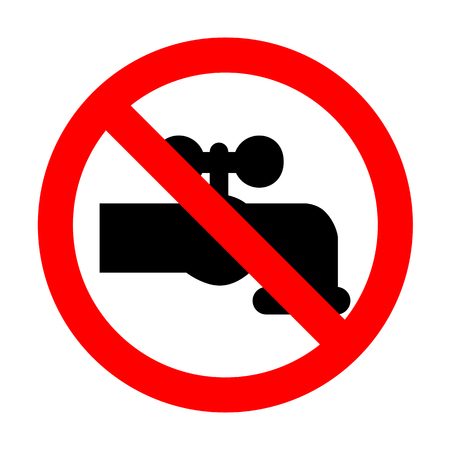 No Water faucet sign illustration.