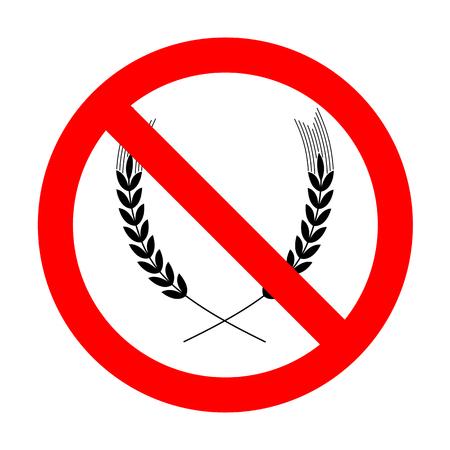 No Wheat sign illustration.