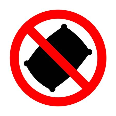sleeping bags: No Pillow sign illustration. Illustration