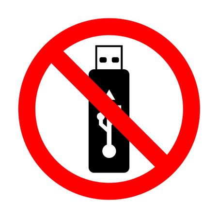 No Vector USB flash drive sign.