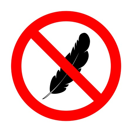 ink pot: No Feather sign illustration.