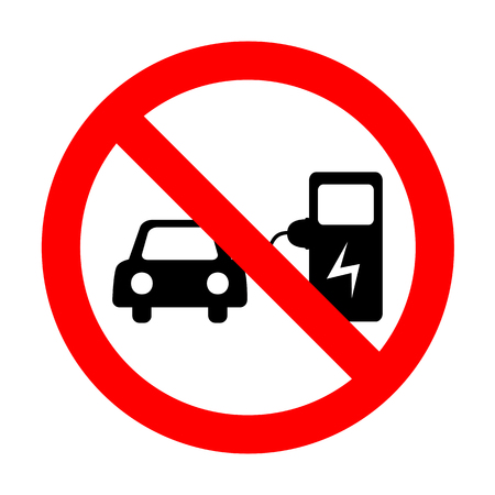 No Electric car battery charging sign.