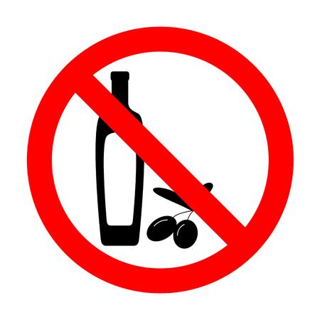 No Black olives branch with olive oil bottle sign. Illustration
