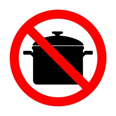 No Cooking pan sign. Illustration