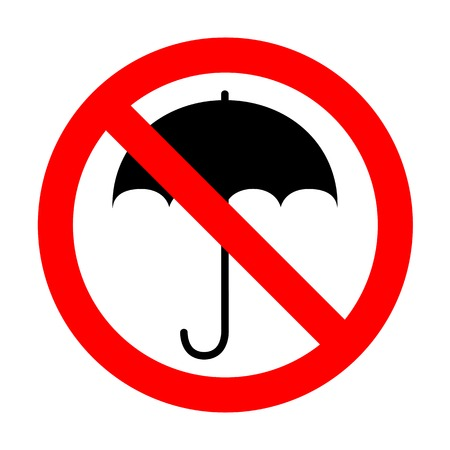 No Umbrella sign icon. Rain protection symbol.No Flat design style.
