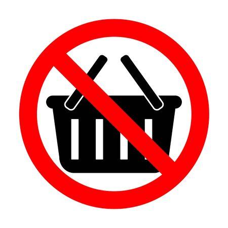No Shopping basket sign. Illustration