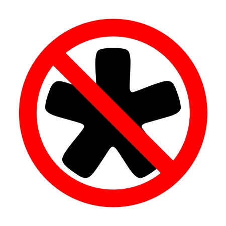 No Asterisk star sign. Иллюстрация