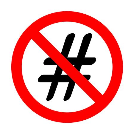 microblogging: No Hashtag sign illustration. Illustration
