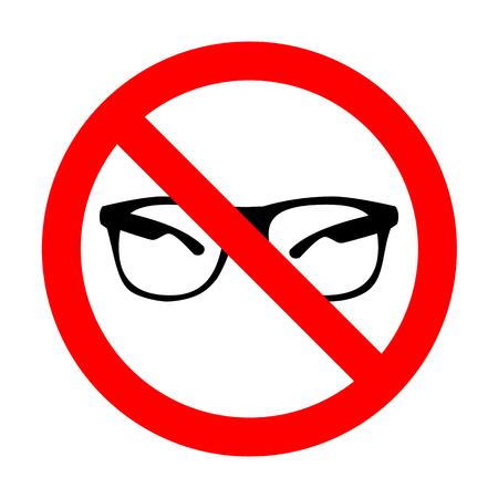 eyewear fashion: No Sunglasses sign illustration.