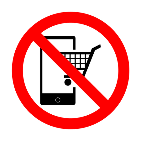 No Shopping on smart phone sign. Illustration