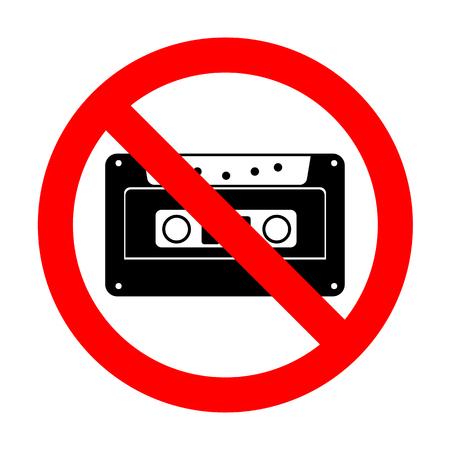 No Cassette icon, audio tape sign.