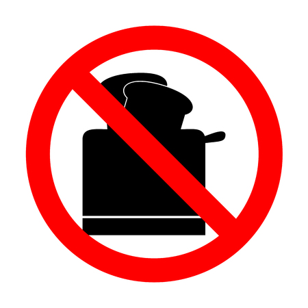 No Toaster simple sign. Illustration