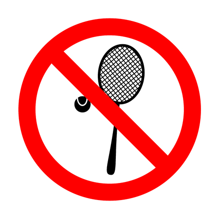 No Tennis racquet sign. Illustration