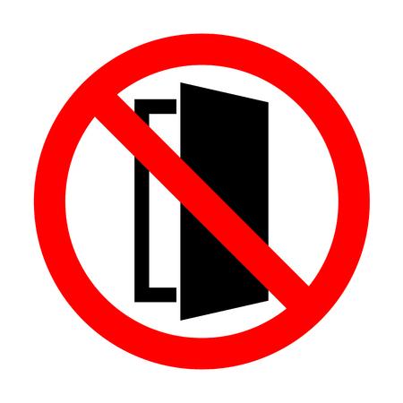 door sign: No Door sign illustration. Illustration