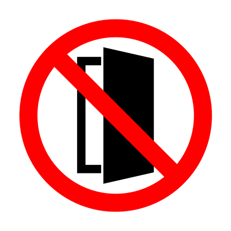 doorknob: No Door sign illustration. Illustration