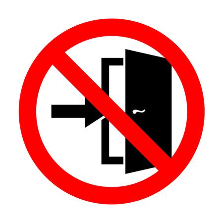 doorknob: No Door Exit sign. Illustration