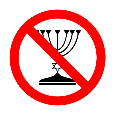 candlestick: No Jewish Menorah candlestick in black silhouette.