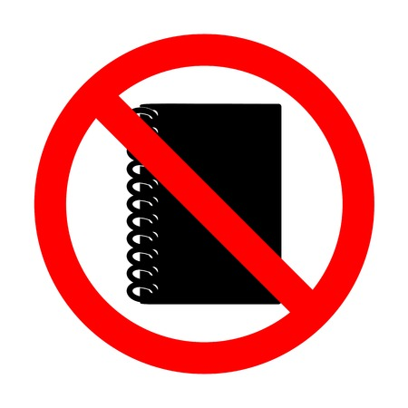 No Notebook simple sign. Illustration