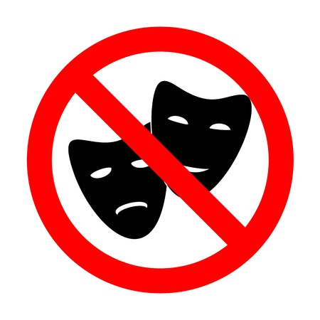 No Theater icon with happy and sad masks.