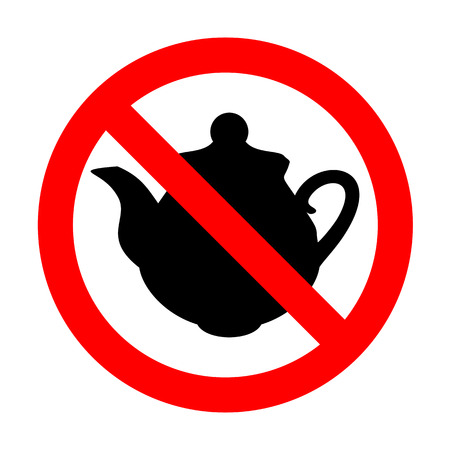 thermal: No Tea maker Kitchen sign. Illustration