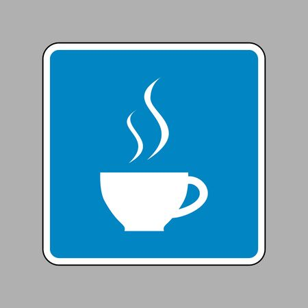 long bean: Cup of coffee sign. White icon on blue sign as background.