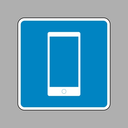 Abstract style modern gadget with blank screen. Template for any content. White icon on blue sign as background.