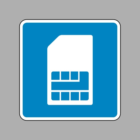 Sim card sign. White icon on blue sign as background. Illustration