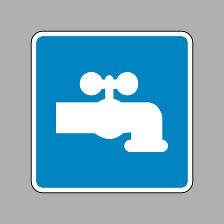 spew: Water faucet sign illustration. White icon on blue sign as background. Illustration